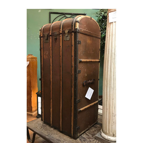 A17026 - Antique Upright Steamer Trunk with Dome Top