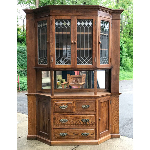 F17049 - Antique Revival Period Oak Sideboard China Cabinet