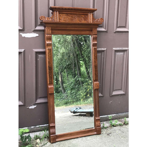 A17060 - Antique Renaissance Revival Walnut Beveled Wall Hung Mirror