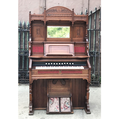 A17057 - Antique Renaissance Revival Walnut Parlor Reed Organ
