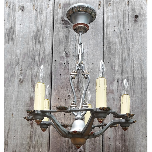 L17157 - Antique Tudor Revival Five Light Hanging Candle Fixture