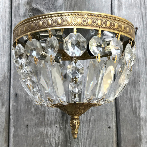 L17200 - Contemporary Brass & Crystal Flush Mount Fixture