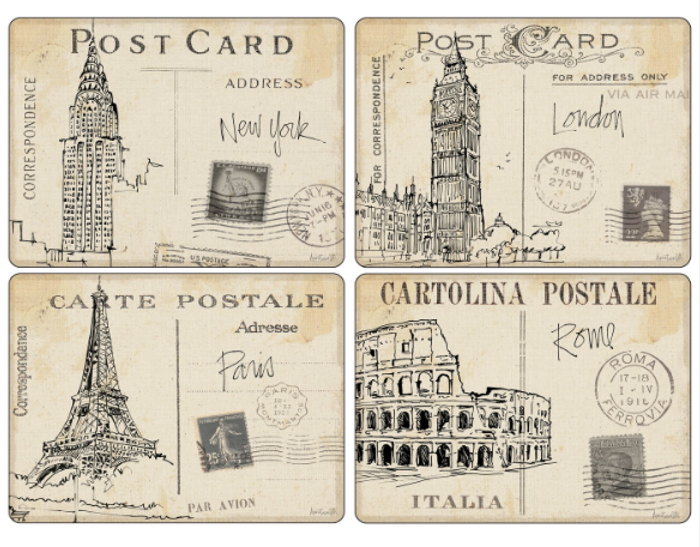 Postcard Sketches Placemats S/4 16x12""