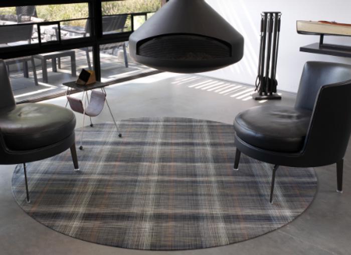 Plaid Grey Woven Floor Mats
