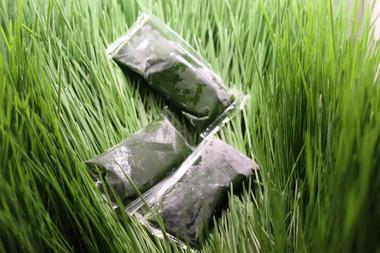 nice dark green, greener than the grass