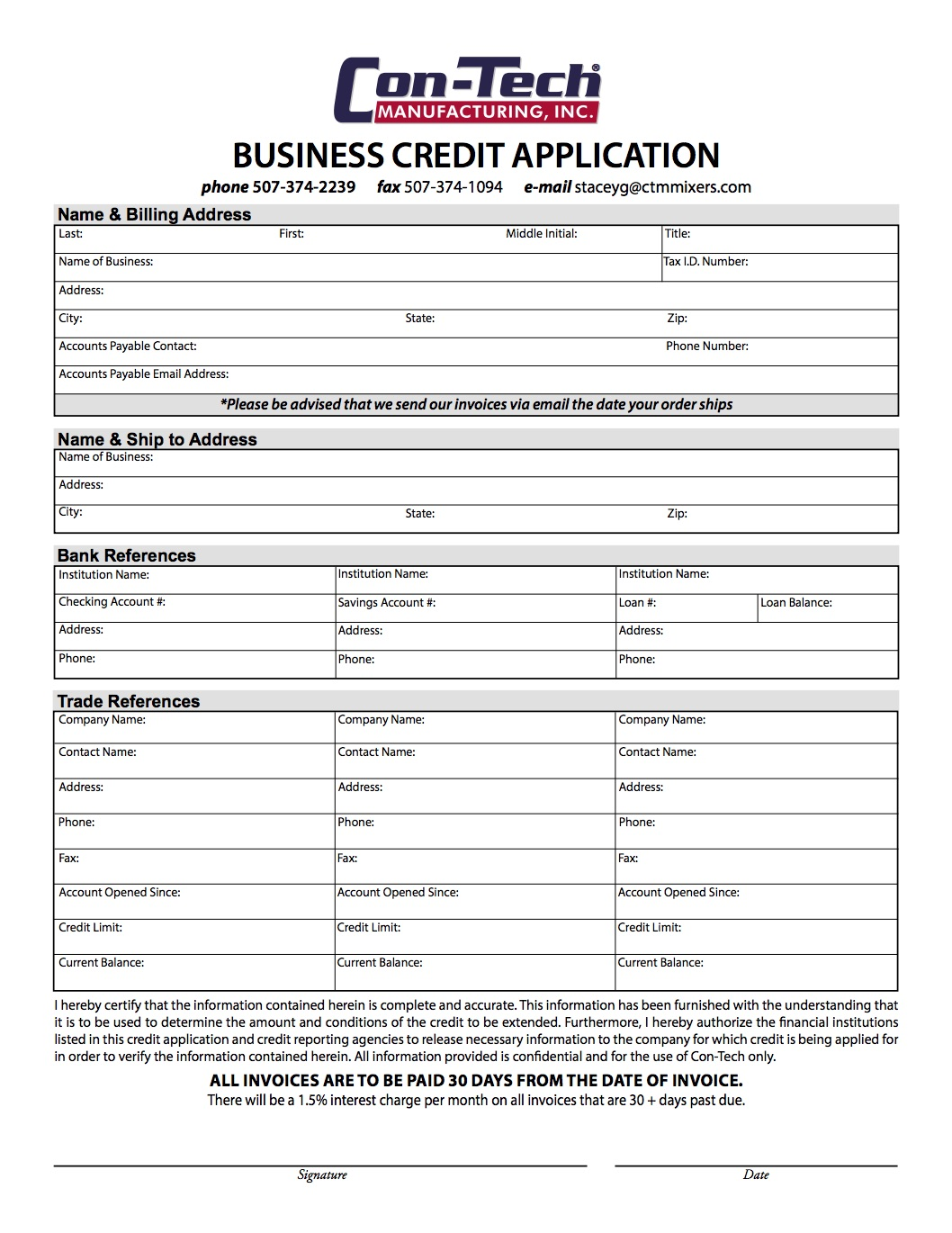 Con-Tech Credit Application