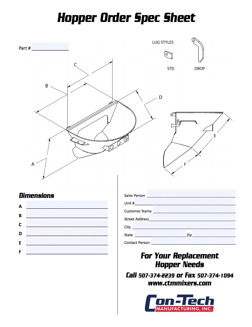 Hopper Replacement Order Form