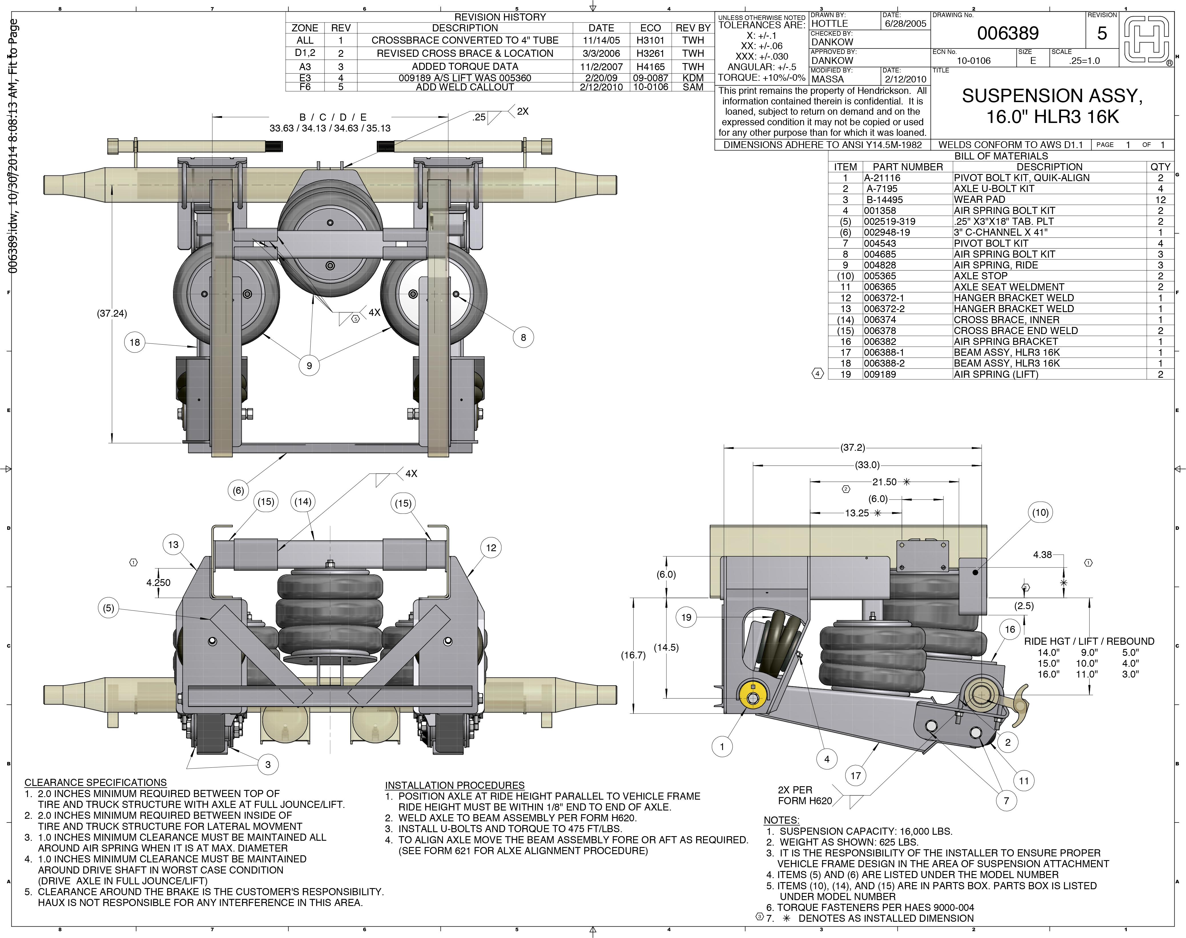 Suspensions - Hendrickson 13.2K Steerable Parts List