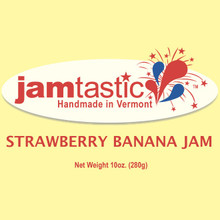 Strawberry Banana Jam! A Jamtastic summer best seller...and now available on the web! Spread this delicious jam on toast with peanut butter or as a topping on ice cream or yogurt! It's unbelievable!
