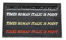 Shown on Black leather: Times Roman Font 18 point Blind Debossed Hot Silver foil Hot Gold Foil Hot Red Foil