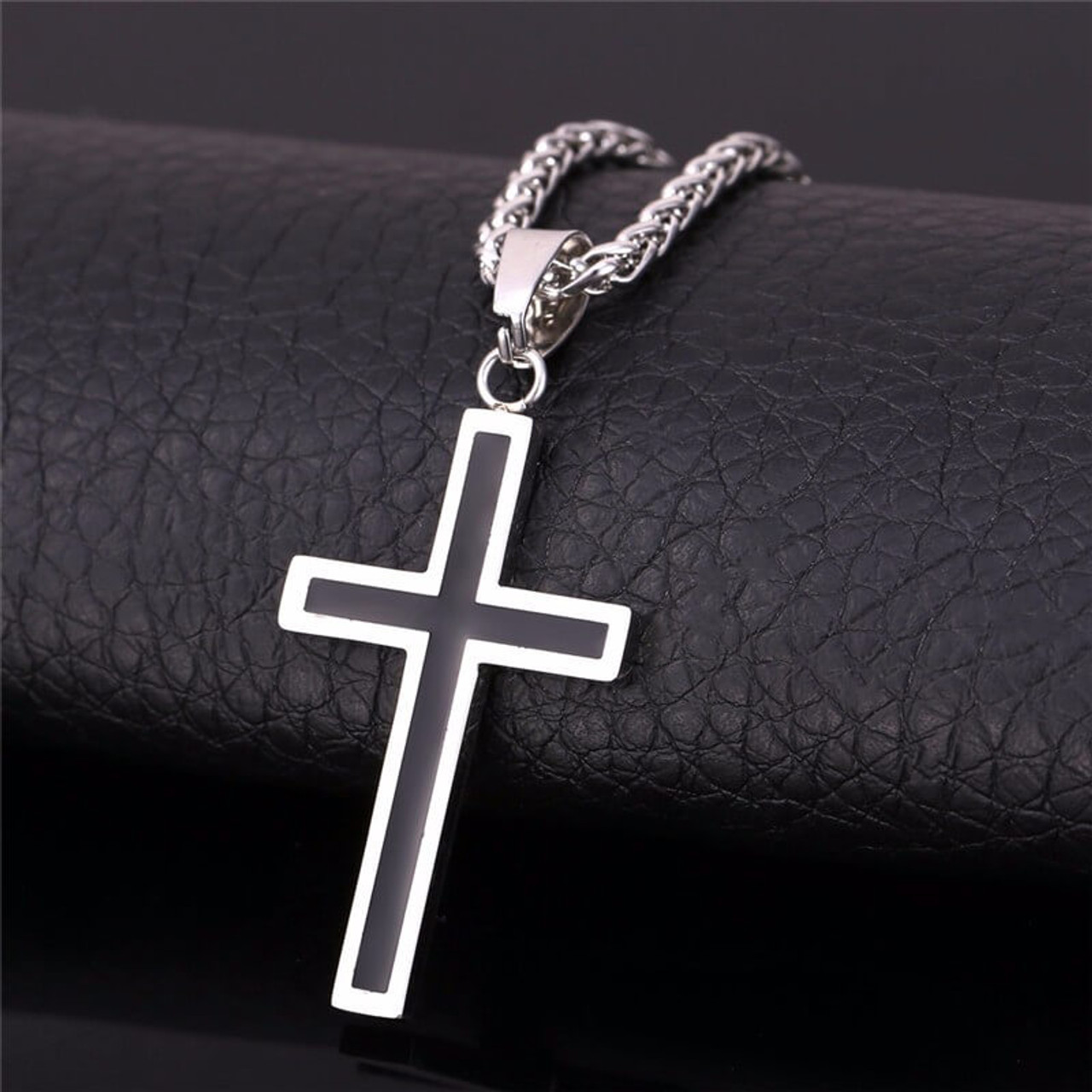 Mens stainless steel cross pendant black best accents mens stainless steel cross pendant aloadofball Images