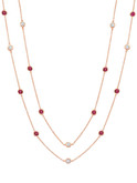 Crislu Bezel Set Ruby and Clear CZ Chain Necklace