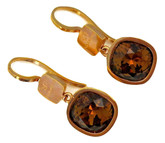 Small Earrings with Brown Swarovski Crystals