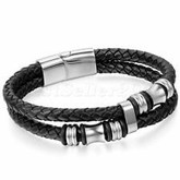 Men's stainless steel bracelet with double braided synthetic leather