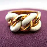 Adami and Martucci Link Chain Ring with White Leather