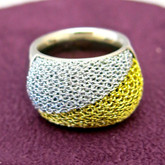 Adami and Martucci Twisted Gold and Silver Mesh Ring
