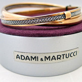 Adami and Martucci Double Bangle with Silver Mesh In rose-gold