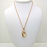 Adami and Martucci Link Chain Pendant with White Leather, rose gold-plated