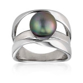 Black Round Pearl Contemporary Silver Ring