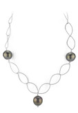 Black Round Pearl Oval Link Chain Necklace, 17""