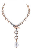 White Barrel Baroque Pearl and Rose Gold Plated  Link Chain Necklace