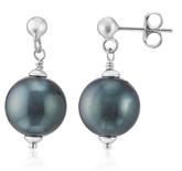 Teal Pearl Dangle Pierced Earrings