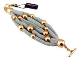 Adami & Martucci 5-Strings Silver Mesh Bracelet with Rose Gold Balls