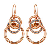 Adami & Martucci Silver Mesh Twisted Circle Hook Earrings in Rose Gold