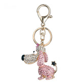 Cute Fashion Dog Keychain with Long Ears and Pink Rhinestones
