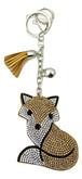 Beige Leather Fox Keychain with Rhinestones