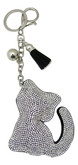 Black Faux Leather Cat Keychain with Rhinestones