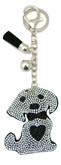 Black Leather Dog Keychain with Heart Rhinestones