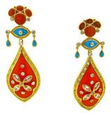 Eye Flower Earrings, Coral