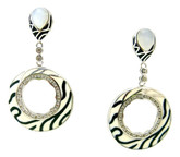 Ripple Circle Earrings with Moonstone, Black/White
