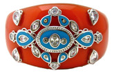 Indian Coral Bangle with Turquoise Enamel
