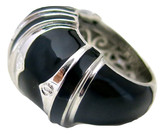 Cleopatra Black Large Ring in Silver