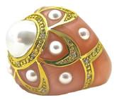 Pearl Flower Ring, Peach MOP