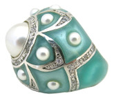 Pearl Flower Ring, Aqua MOP