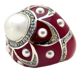 Pearl Flower Ring, Ruby