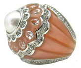 Dome Pearl Flower Ring, Peach MOP