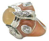 Dome Peach MOP Ring
