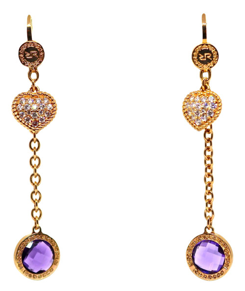 Chain Earrings with Hearts and Purple Round Crystals