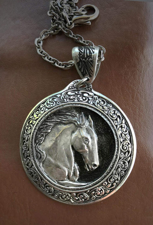 Horse Pendant, Friesian Horse head sculptured 2 inch pendant in fancy pewter frame