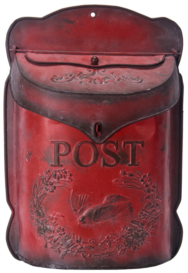 "Metal Post Box Antique Red / 10.5 x 3.25 x 15.5""h"