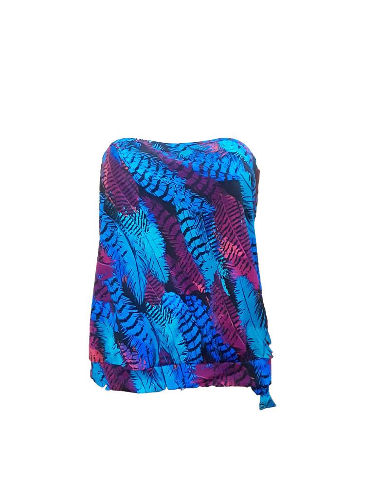 Women's Strapless Bandeau Blouson Tankini Top with Underwire Bra #814 Fits Bra sizes C-DD