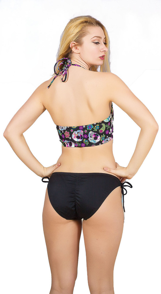 High neck halter bikini top with thin ties