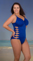Sexy One Piece with cut out sides, a key-hole back, and thin adjustable straps