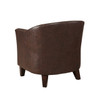 Brown Faux Leather Barrel Accent Chair- DS-2278-900-2