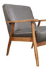 Wood Frame Faux Leather Accent Chair in Lummus Steel- DS-D030003-329