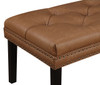 Faux Leather Diamond Tufted Upholstered Bed Bench in Lummus Cognac - DS-D029003-460